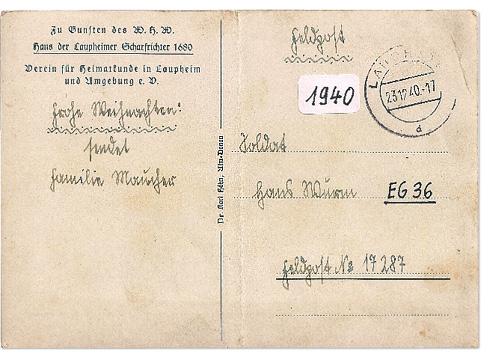 Rückseite einer Feldpostkarte aus Laupheim
