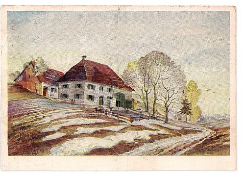 Vorderseite einer Feldpostkarte aus Laupheim
